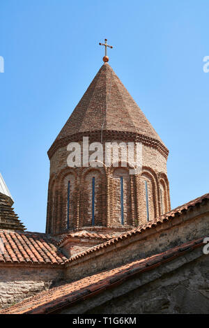 Pictures & images of the Georgian Orthodox church of the Virgin, early 17th century, Ananuri castle complex, Georgia (country).  Ananuri castle is sit - Stock Photo