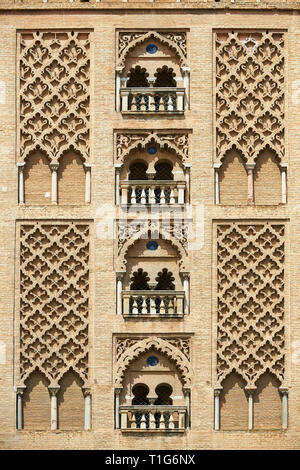 Moorish architectural detail on the old mosque tower, now the bell tower of the Cathedral of Seville, Spain - Stock Photo