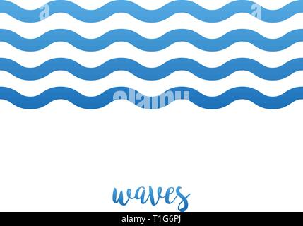 Waves water icon, in line on white background - Stock Photo