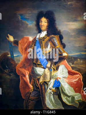 King Louis XIV of France (1638-1715), portrait painting in armour on horseback, Hyacinthe Rigaud, c. 1701 - Stock Photo
