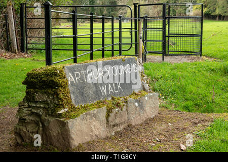 A stone plaque for 'Arthur Young Nature Trail' starting point at Muckross House and Gardens in Killarney National Park County Kerry Ireland - Stock Photo