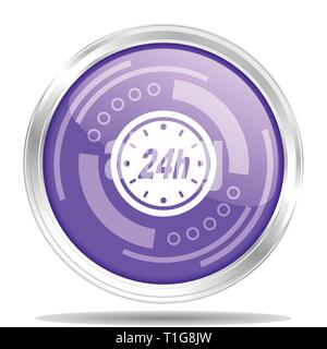 24h silver metallic chrome border round web icon, vector illustration for webdesign and mobile applications isolated on white background - Stock Photo