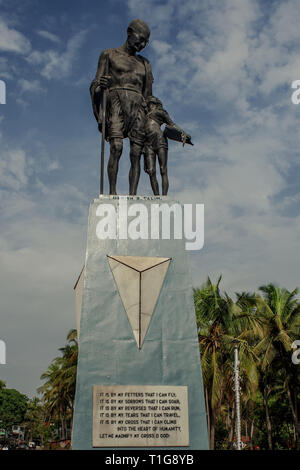 09-06-2009-Statue of Mahatma Gandhi  at Gandhi Circle Velha Goa, Old Goa-INDIA - Stock Photo