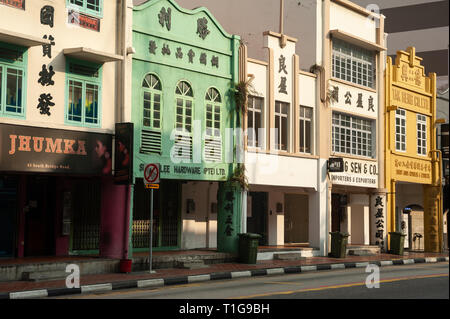 08.03.2019, Singapore, Singapore, Singapore - A view of old buildings along the South Bridge Road in the city centre. 0SL190308D004CAROEX.JPG [MODEL R - Stock Photo