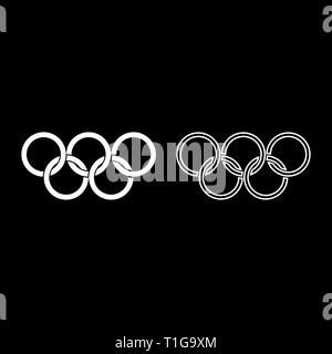 Olympic rings Five Olympic rings icon set white color vector illustration flat style simple image - Stock Photo