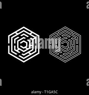 Hexagonal Maze Hexagon maze Labyrinth with six corner icon set white color vector illustration flat style simple image - Stock Photo