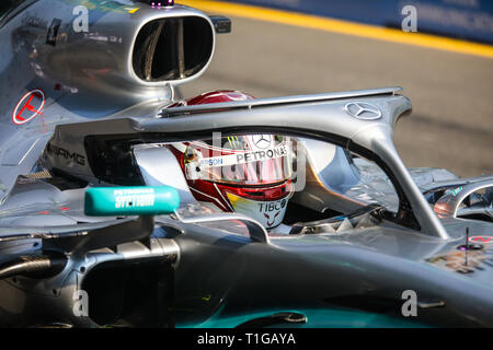 MELBOURNE, AUSTRALIA - MARCH 17: Lewis HAMILTON of Mercedes-AMG Petronas Motorsport before the start of the 2019 Formula 1 Australian Grand Prix - Stock Photo