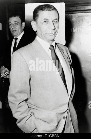 Meyer Lansky, known as the 'Mob's Accountant', was an American major organized crime figure who, along with his associate Charles 'Lucky' Luciano, was instrumental in the development of the National Crime Syndicate in the United States (1958)  File Reference # 1003_819THA - Stock Photo