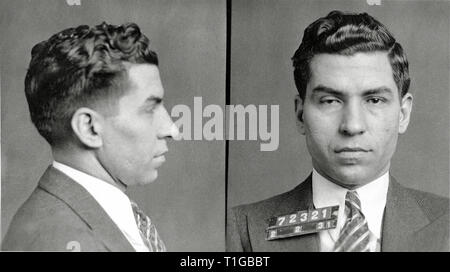 New York Police Department Mugshot of Italian-American mobster Charles 'Lucky' Luciano, February 2, 1931  File Reference # 1003_818THA - Stock Photo