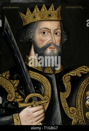King William I ('The Conqueror'), first Norman king of England; oil on panel, unknown artist, circa, 1590-1610, National Portrait Gallery, London.  File Reference # 1003 743THA - Stock Photo