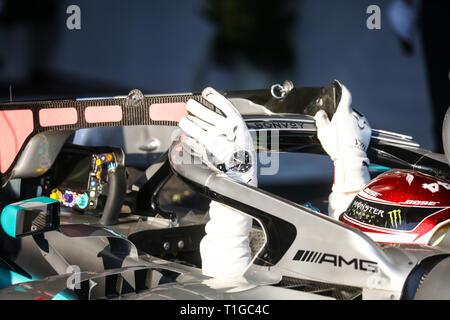 MELBOURNE, AUSTRALIA - MARCH 17: Lewis HAMILTON of Mercedes-AMG Petronas Motorsport exits his car after the 2019 Formula 1 Australian Grand Prix - Stock Photo