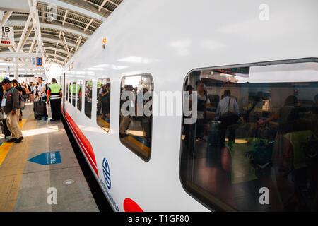Taichung, Taiwan - May 2, 2018 : Taichung railway station - Stock Photo