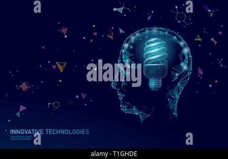 Human brain IQ smart business concept. Fluorescent lamp ecology idea brain power. Brainstorm creative idea project work low poly polygonal vector - Stock Photo