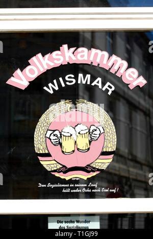 Window of the old GDR pub Volkskammer Wismar, old town, Wismar, Mecklenburg-Vorpommern, Germany, Europe I Fenster der alten DDR Kneipe Volkskammer Wis - Stock Photo