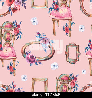 Watercolor Seamless Pattern with Antique Golden Wooden Frame, Flowers, Chair, Hand Painted Vintage Illustration on Pink Background. Floral Design Coll - Stock Photo