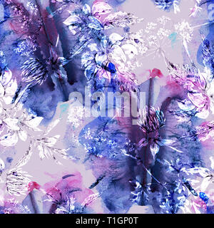 Watercolor abstract seamless pattern with hand painted artistic texture, silhouette of flowers. Natural background - Stock Photo