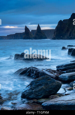 Duncansby Head and Sea Stacks at dawn, Caithness, Scottish Highlands, Scotland, UK - Stock Photo