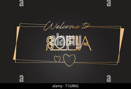 Sofia Welcome to Golden text Neon Lettering Typography with Wired Golden Frames and Hearts Design Vector Illustration. - Stock Photo