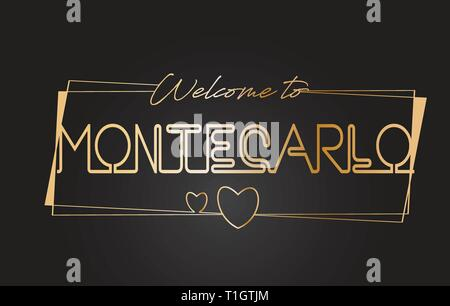 MonteCarlo Welcome to Golden text Neon Lettering Typography with Wired Golden Frames and Hearts Design Vector Illustration. - Stock Photo