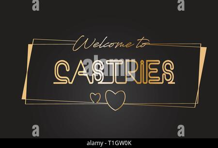 Castries Welcome to Golden text Neon Lettering Typography with Wired Golden Frames and Hearts Design Vector Illustration. - Stock Photo