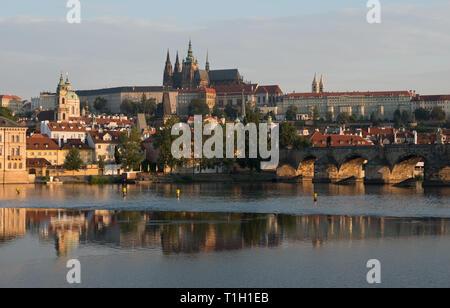 Praga. View from Old Town to Mala Strana, Hrad and Carles bridge at the mornig - Stock Photo