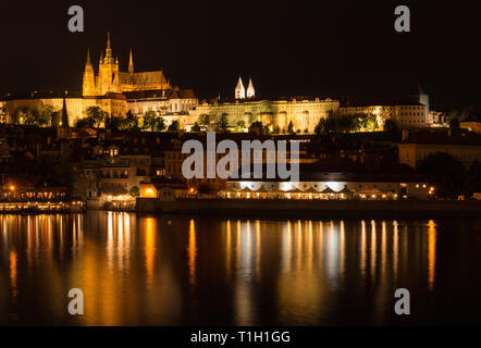 Prague: view to the Prague Castle from Old Town - Stock Photo
