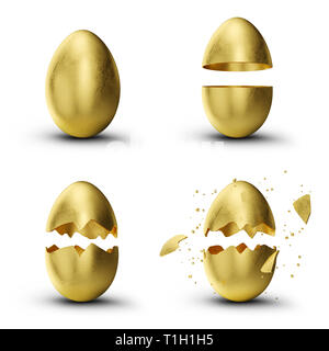Golden, luxury easter set eggs. Set golden eggs cracked, broken into many pieces isolated on a white background. Golden easter eggs holiday symbol. 3D - Stock Photo