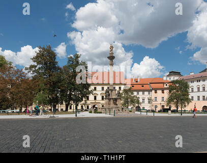 Prague: Hradcany Square (nothern side), Marian (Holy Trinity) Column - Stock Photo