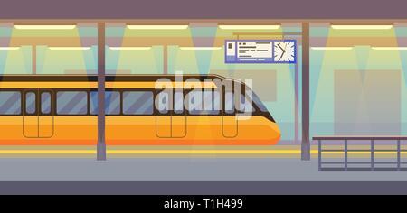 Modern passenger electric train in tunnel underground, subway, metro - Stock Photo