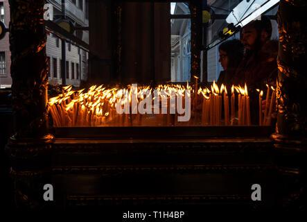 03/24/2019,Balat,istanbul,Turkey,candle burning ritual - Stock Photo