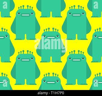 Cartoon monster pattern seamless. Green beast Vector background. Kids cloth texture  - Stock Photo