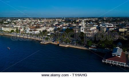 Stone town Zanzibar aerial view. - Stock Photo