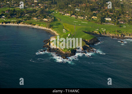 21st March, 2019  Pebble Beach, California, USA Aerial view over the iconic Pebble Beach Golf lLinks - venue for the 2019 US Open golf Championship as - Stock Photo