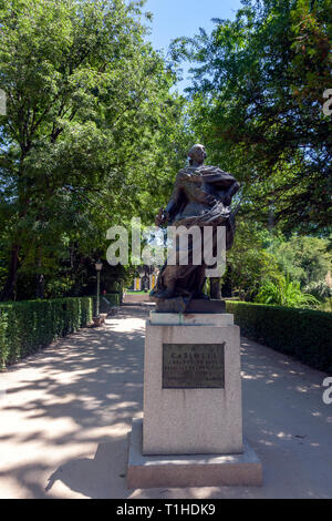 Carlos III statue in the garden of Real Jardín Botánico, Royal Botanical Garden of Madrid, Madrid, Spain - Stock Photo