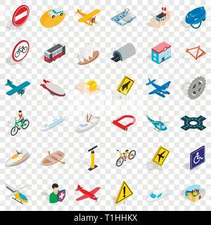 Transportation icons set, isometric style - Stock Photo