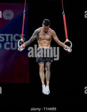 22.03.2019. Resorts World Arena, Birmingham, England. The Gymnastics World Cup 2019 Bart Deurloo (NED) during the Mens training session. - Stock Photo