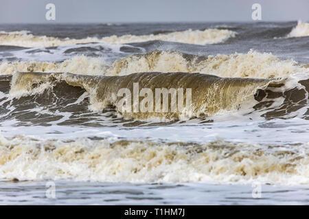 North Sea, waves, surf, tide, storm, North Sea island Langeoog, East Frisia, Lower Saxony, - Stock Photo