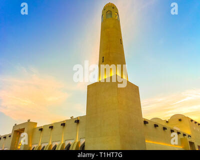 Closeup of State Grand Mosque with a minaret at sunset light. Doha mosque in Downtown, Qatar, Middle East, Arabian Peninsula, persian Gulf. Landmark - Stock Photo