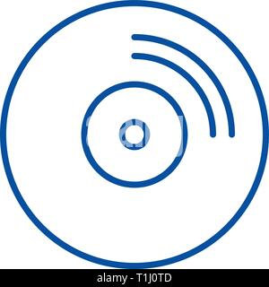 Cd disc line icon concept. Cd disc flat  vector symbol, sign, outline illustration. - Stock Photo