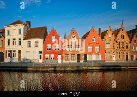 Canal and old houses. Bruges Brugge , Belgium - Stock Photo