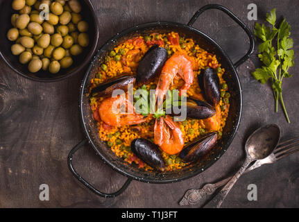 Paella on a table - Stock Photo