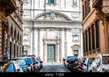 Rome, Italy - September 4, 2018: Historic city with church Oratory of Saint Philip Neri summer day between buildings on street alley exterior Vicolo d - Stock Photo