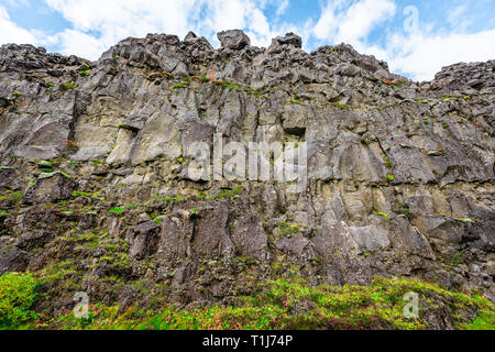 Thingvellir, Iceland National Park canyon continental divide plate during day landscape wide angle closeup on Golden circle - Stock Photo