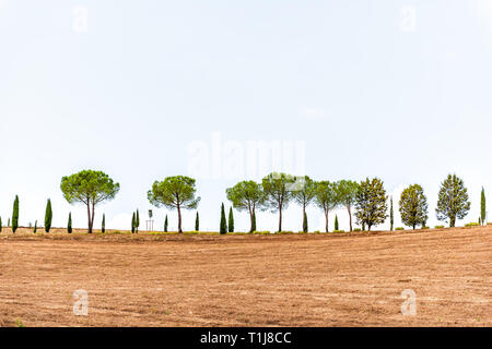 Val D'Orcia countryside in Tuscany, Italy with rolling plowed brown hills top farm landscape idyllic picturesque meadow field row cypress trees - Stock Photo