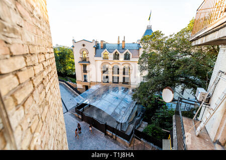 Kyiv, Ukraine - August 10, 2018: View of old historic town with buildings of Kiev city near Andriyivskyi uzviz descent during sunny summer day in Podi - Stock Photo