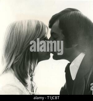 people, couples, lovers / romanticism, couple kissing each other, 1970s, Additional-Rights-Clearance-Info-Not-Available - Stock Photo