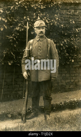 WW I, German soldier / Franz Feltz / in Namur, Belgium, with spiked helmet, postcard sent 27.05.1915., Additional-Rights-Clearance-Info-Not-Available