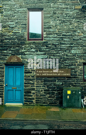 Exterior shots of the old restored brick work buildings in and around the royal burgh of Wick harbour with some local dialect phras caithness scotland - Stock Photo