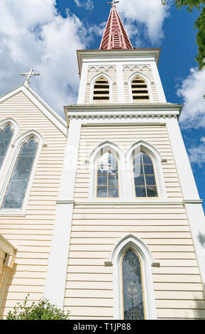Architectural detail on striking pink church bell tower in Blenhiem New Zealand Stock Photo