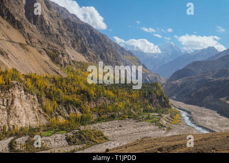 Landscape view of mountains and Hunza river in autumn. View from Karakoram highway, Gilgit Baltistan. Hunza valley, Pakistan. - Stock Photo